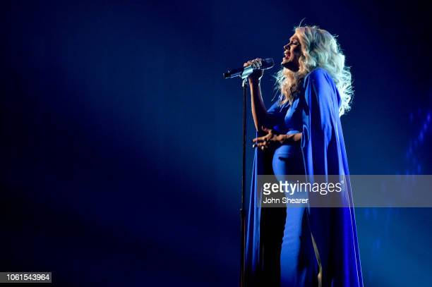 Carrie Underwood performs onstage during the 52nd annual CMA Awards at the Bridgestone Arena on November 14 2018 in Nashville Tennessee