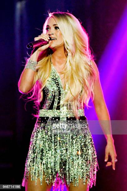 Carrie Underwood performs onstage during the 53rd Academy of Country Music Awards at MGM Grand Garden Arena on April 15 2018 in Las Vegas Nevada
