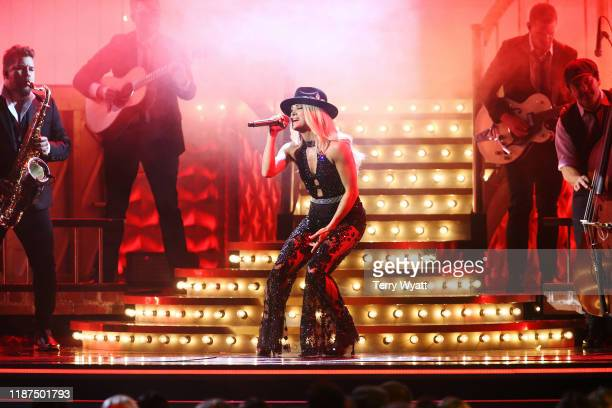 Carrie Underwood performs onstage during the 53rd annual CMA Awards at the Bridgestone Arena on November 13 2019 in Nashville Tennessee
