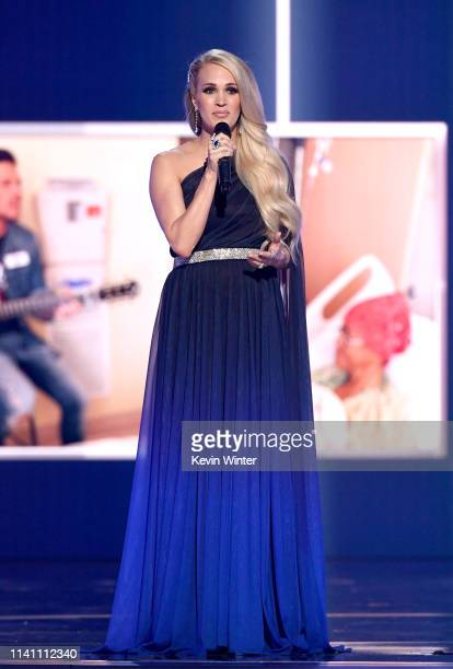 Carrie Underwood performs onstage during the 54th Academy Of Country Music Awards at MGM Grand Garden Arena on April 07 2019 in Las Vegas Nevada