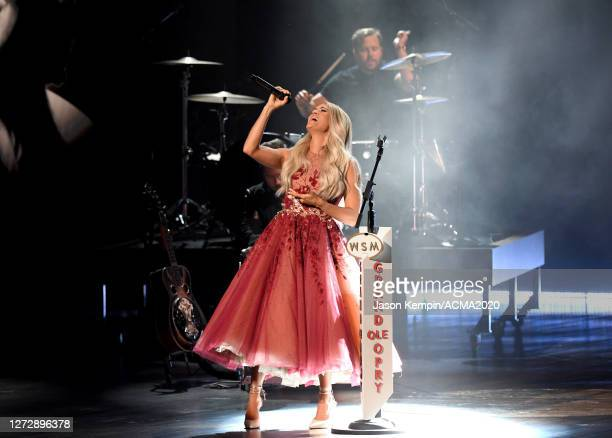 Carrie Underwood performs onstage during the 55th Academy of Country Music Awards at the Grand Ole Opry on September 13 2020 in Nashville Tennessee...