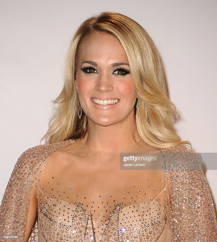 Carrie Underwood poses in the press room at the 2015 American Music Awards at Microsoft Theater on November 22, 2015 in Los Angeles, California.