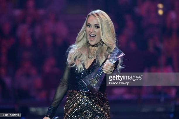 Carrie Underwood receives CMT Artist of the Year award during a remote performance at Rocket Mortgage Fieldhouse on October 16 2019 in Cleveland Ohio