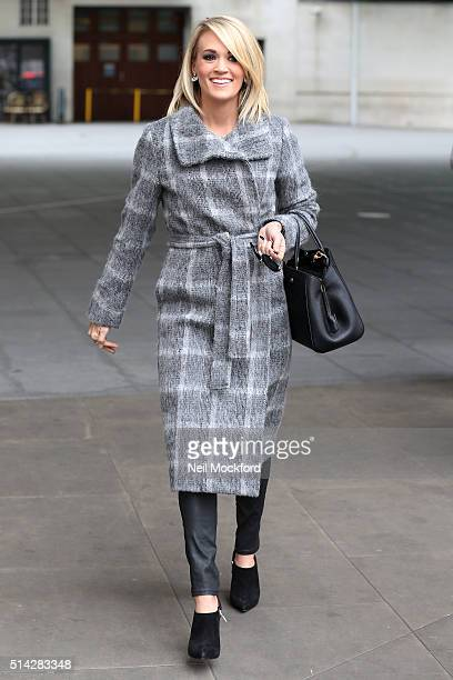 Carrie Underwood seen leaving BBC Broadcasting House after performing on Women's Hour on March 8 2016 in London England