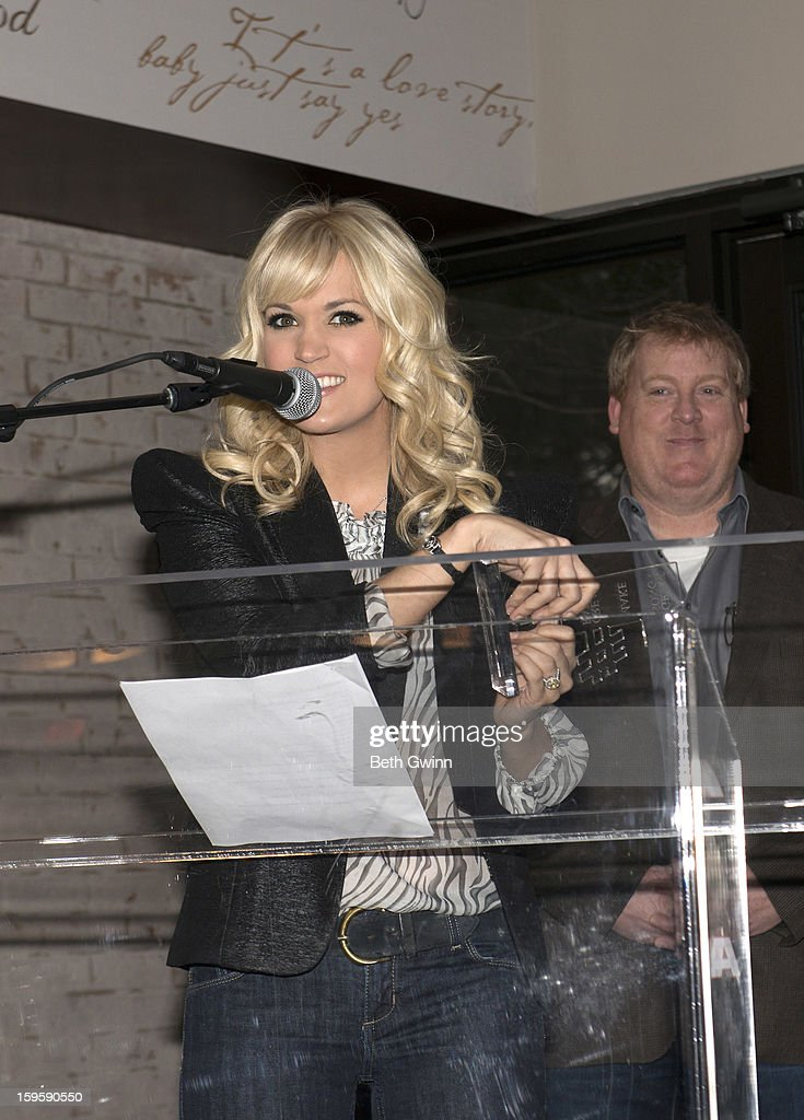 Carrie Underwood speaks at the Blown Away #1 Party at ASCAP Building on January 16, 2013 in Nashville, Tennessee.