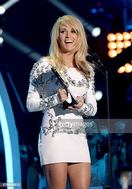 Carrie Underwood speaks onstage at the 2015 CMT Music awards at the Bridgestone Arena on June 10 2015 in Nashville Tennessee