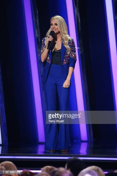 Carrie Underwood speaks onstage during the 53rd annual CMA Awards at the Bridgestone Arena on November 13, 2019 in Nashville, Tennessee.