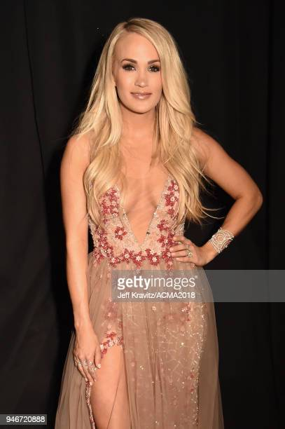Carrie Underwood winner of Vocal Event of the Year attends the 53rd Academy of Country Music Awards at MGM Grand Garden Arena on April 15 2018 in Las...