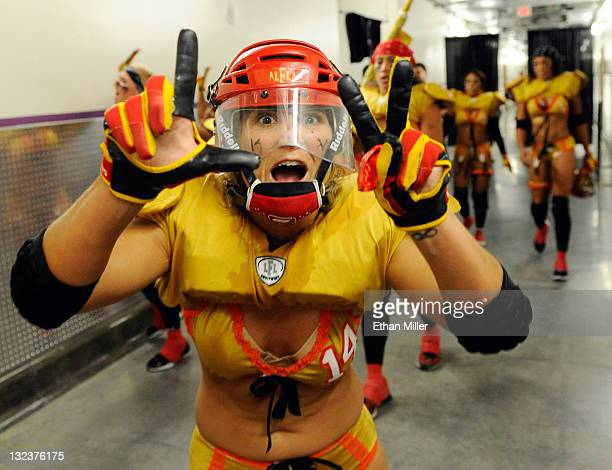 Carrie Walters of the Las Vegas Sin celebrates as the team heads to the locker room after their 2820 Lingerie Football League game victory over the...