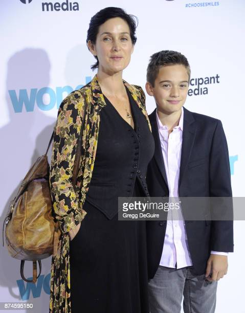 CarrieAnne Moss and Jaden Roy arrive at the premiere of Lionsgate's 'Wonder' at Regency Village Theatre on November 14 2017 in Westwood California