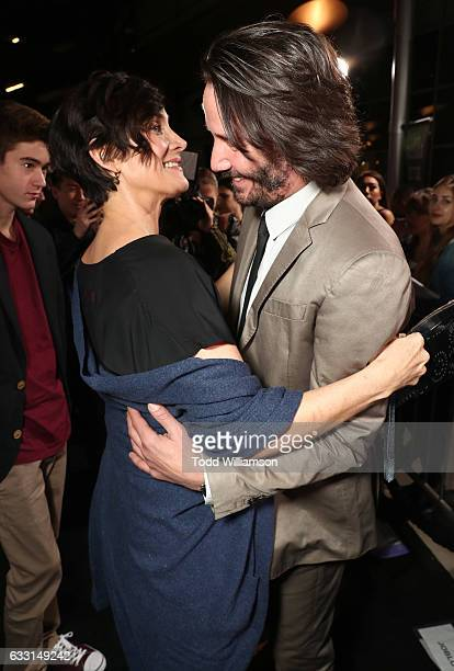 CarrieAnne Moss and Keanu Reeves attend the Premiere Of Summit Entertainment's 'John Wick Chapter Two at ArcLight Hollywood on January 30 2017 in...