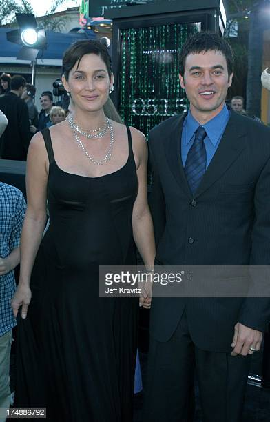 "Carrie-Anne Moss and Steven Roy during ""The Matrix Reloaded"" Premiere at Mann Village Theater in Westwood, California, United States."