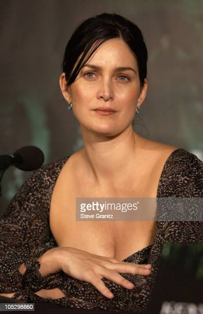 CarrieAnne Moss during Los Angeles Press Conference with The Cast of 'The Matrix Revolutions' at Disney Concert Hall in Los Angeles California United...