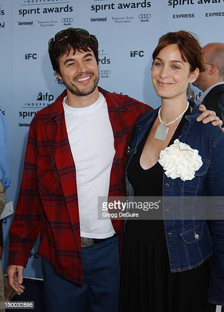 CarrieAnne Moss Husband Steven Roy during The 18th Annual IFP Independent Spirit Awards Arrivals at Santa Monica Beach in Santa Monica California...