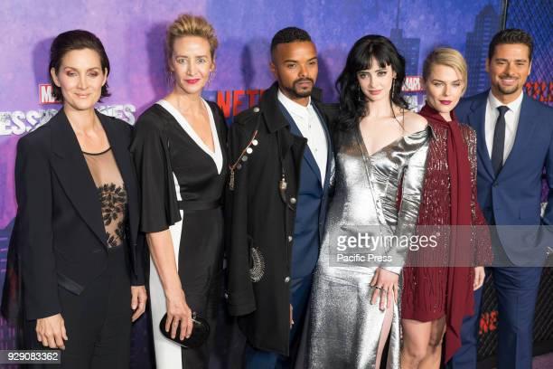 CarrieAnne Moss Janet McTeer Eka Darville Krysten Ritter Rachael Taylor and JR Ramirez attend Marvel Jessica Jones Season 2 Premiere at AMC Loews...