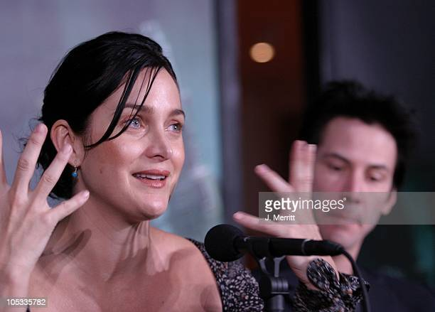 CarrieAnne Moss Keanu Reeves during Los Angeles Press Conference With the Cast of The Matrix Revolutions at Disney Concert Hall in Los Angeles...