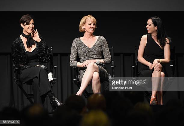 CarrieAnne Moss Melissa Rosenberg and Krysten Ritter speak onstage during a cast and crew discussion with Marvel's 'Jessica Jones' at the New York...