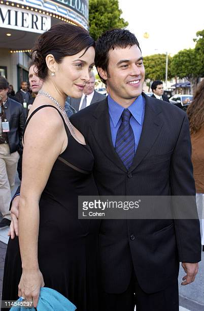 "Carrie-Anne Moss & Steven Roy during ""The Matrix Reloaded"" Premiere - Black Carpet at Mann Village Theater in Westwood, California, United States."