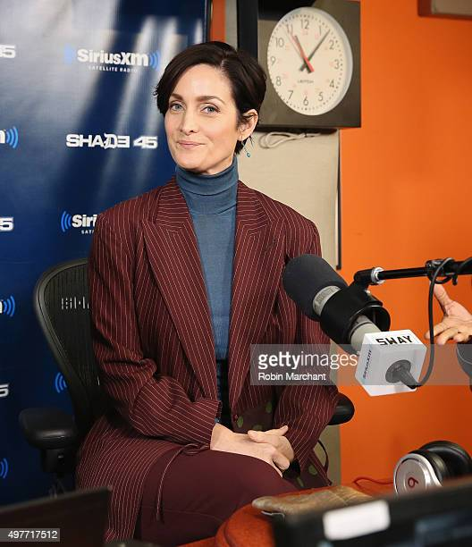 CarrieAnne Moss visits 'Sway in the Morning' with Sway Calloway on Eminem's Shade 45 at SiriusXM Studios on November 18 2015 in New York City