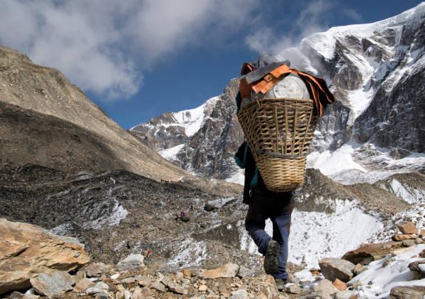 Carrier at Chonbarden Glacier, Dhaulagiri Circuit Trek, Himalaya, Nepal