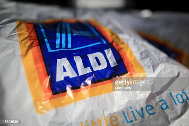 Carrier bags from a branch of the budget supermarket Aldi are seen on November 7 2013 in Bristol England As the German chain opens its 500th store in...
