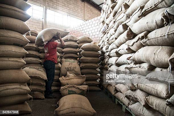 WORKER carries bags of coffee beans that are going to be roasted at Café Primavera Itapira Brazil on Monday February 10TH