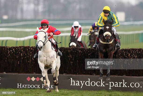 Carrighoun ridden by Michael McAlister jumps the last to win from Galway Jack ridden by Andrew Thornton in the ApolloBet Free Download App Handicap...
