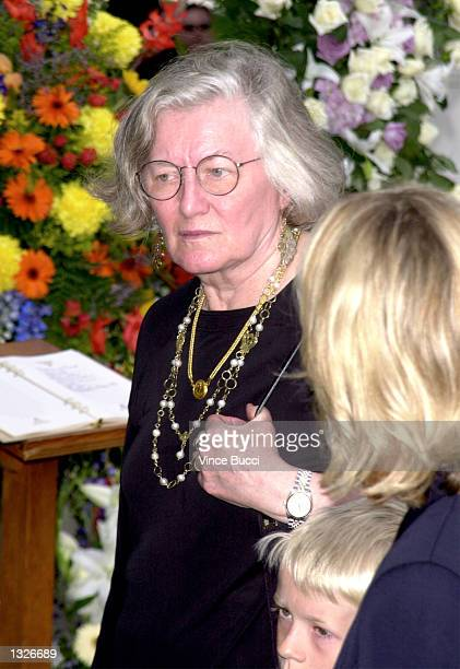 Carroll O''Connor''s widow Nancy attends his funeral June 26 2001 at St Paul The Apostle Church in West Los Angeles CA O''Connor died on June 21 2001...
