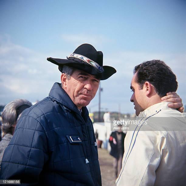 Carroll Shelby and Bob Bondurant before the USRRC race held on July 25, 1967 at Watkins Glen, New York.