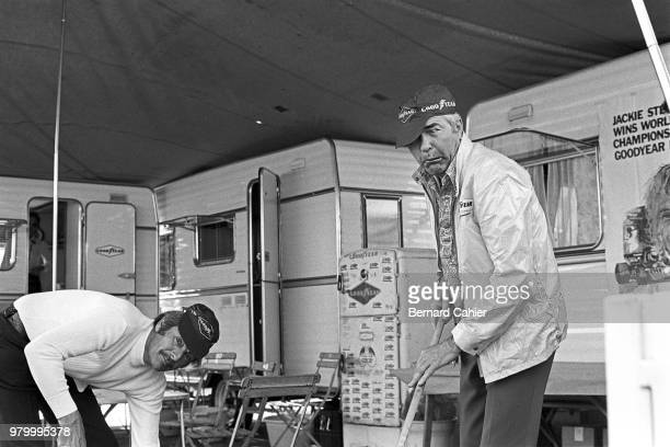 Carroll Shelby, Hilton Johnson, 24 Hours of Le Mans, Le Mans, 16 June 1974. Carroll Shelby with friend doing some clean up at the Cahier corral...