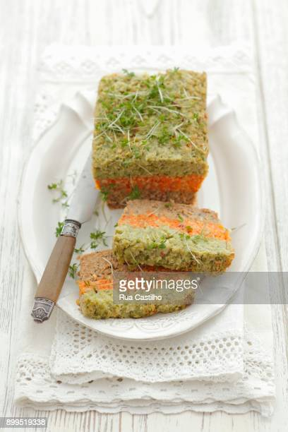 carrot and broccoli pt with soya and cress - rua stock-fotos und bilder