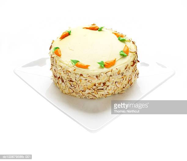 Carrot cake on white background