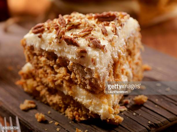 carrot cake with cream cheese icing - carrot cake stock pictures, royalty-free photos & images