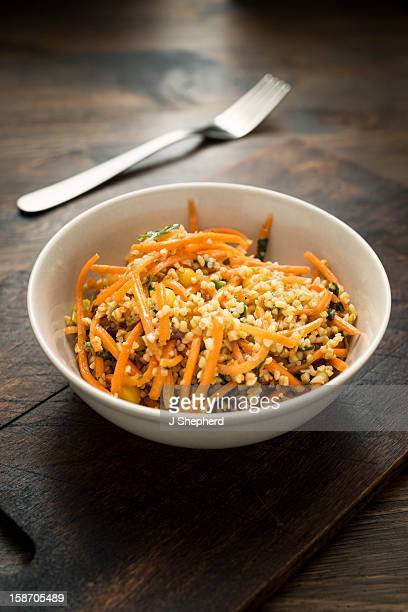 carrot salad in a bowl - bulgur wheat stock pictures, royalty-free photos & images