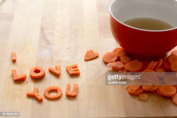 Carrot slices spelling out I Love You, Louvain-la-Neuve, Belgium