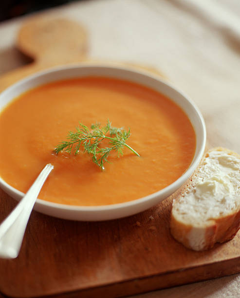 carrot soup - carrot puree stock pictures, royalty-free photos & images
