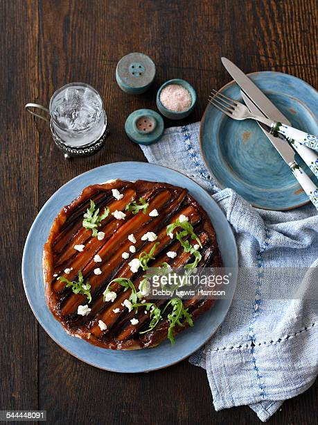 Carrot tarte tatin on a plate