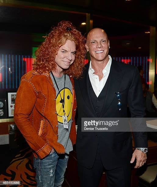 Carrot Top and Johnny Brenden during produce/DJ Steve Aoki's Brenden Celebrity Star presentation at Palms Casino Resort on March 6 2015 in Las Vegas...