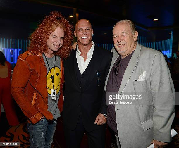 Carrot Top Johnny Brenden and Robin Leach during produce/DJ Steve Aoki's Brenden Celebrity Star presentation at Palms Casino Resort on March 6 2015...