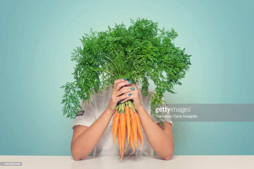 Carrot woman : Stock Photo