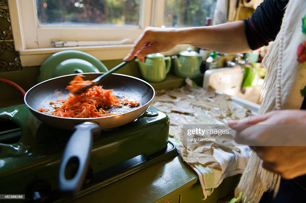 Carrots and rice in a pan for dolmas : Stock Photo