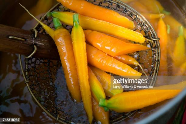Carrots in strainer
