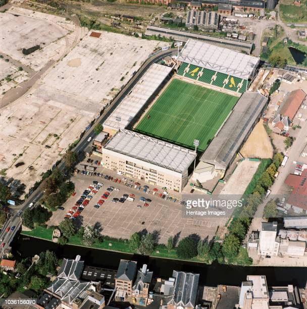 Carrow Road, Norwich, Norfolk, 1992. Aerial view of the home of Norwich City Football Club. Founder members of the Premier League , the Canaries were...