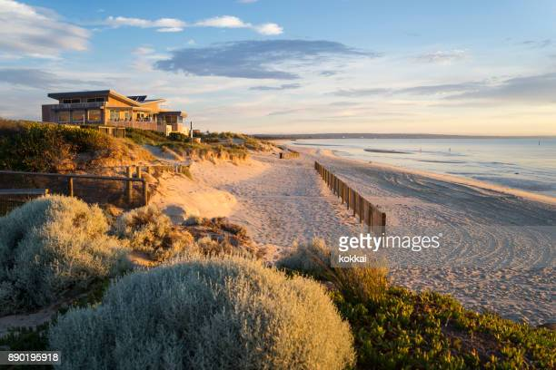 carrum beach, melbourne - melbourne australia stock pictures, royalty-free photos & images