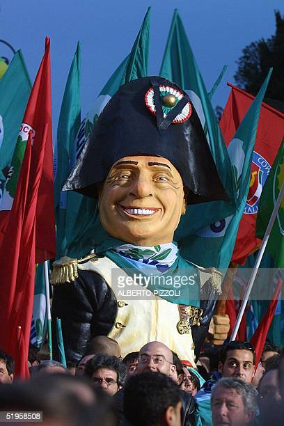 Carrying a caricature depicting Italian Premier Silvio Berlusconi as Napoleon thousand of demonstrators belonging to all the various factions of the...
