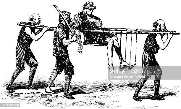 Carrying a Wounded Soldier China 'Classical Portfolio of Primitive Carriers' by Marshall M Kirman World Railway Publ Co Illustration 1895
