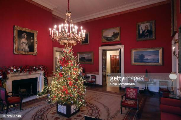 Carrying first lady Melania Trump's 'Be Best' initiative the Red Room is decorated to 'celebrate children through the décor which displays ways in...