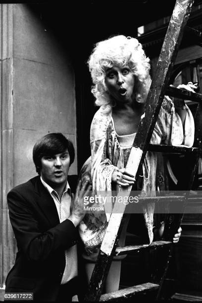 Carry-on actress Barbara Windsor with local comedian Spike Rawlings outside the Threatre Royal, Newcastle, on 7th August 1980 where they are...