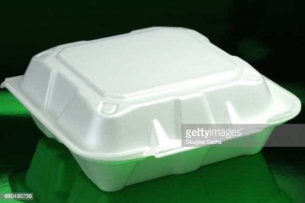 Carryout meal container with leftovers from dinner