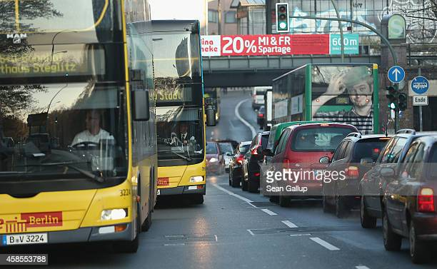 Cars and buses clog a road in Zehlendorf district on the second day of a fourday strike by the GDL train drivers labor union on November 7 2014 in...